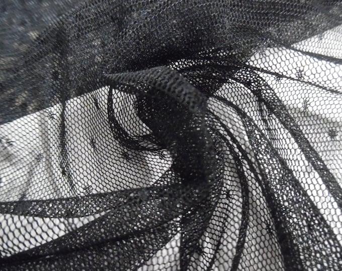 """Soft De Lis Netting~Nylon~Sheer~Jet Black~12""""x60""""~Doll Fabric~Great For Overlays~Flapper"""