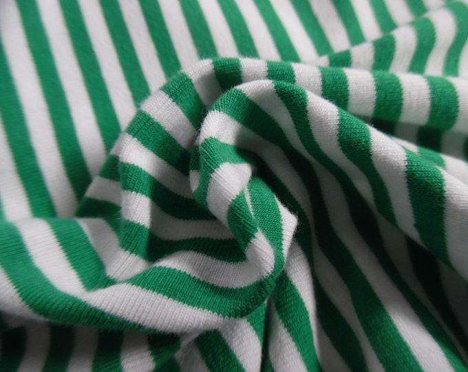 "Tiny Stripe Jersey Knit~Green & White~Doll Fabric~12""x30""~Great 4 stockings, socks, leggings, ect."