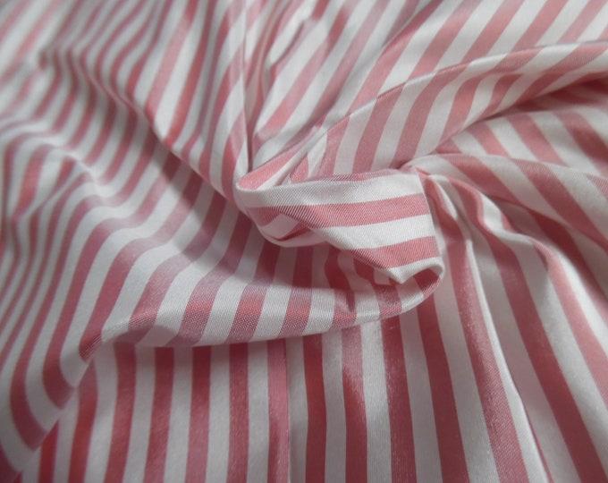 "High End Silk Taffeta~Tiny Stripe~Muted Red & White~9""x27""~Doll Fabric"