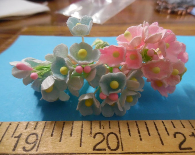 Tiny Old Fashioned Flocked Flowers~Soft Pink & Blue~8 Stems~Great For Doll Hats!
