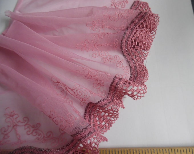 """Lace Edge Soft Netting~Victorian Look~Shades of Dusty Pink~7""""x36""""~Doll Fabric~Great For Overlays"""