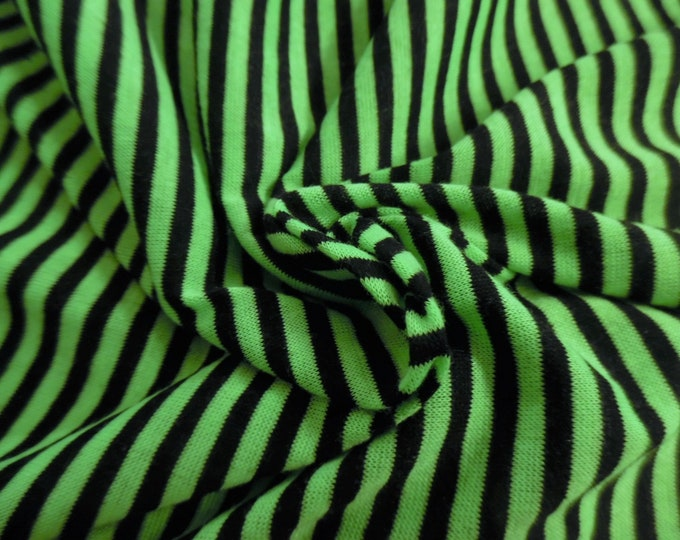 "Tiny Stripe Tissue Jersey~Bright Green/Black~Doll Fabric~12""x30""~Great 4 stockings, socks, leggings, ect."