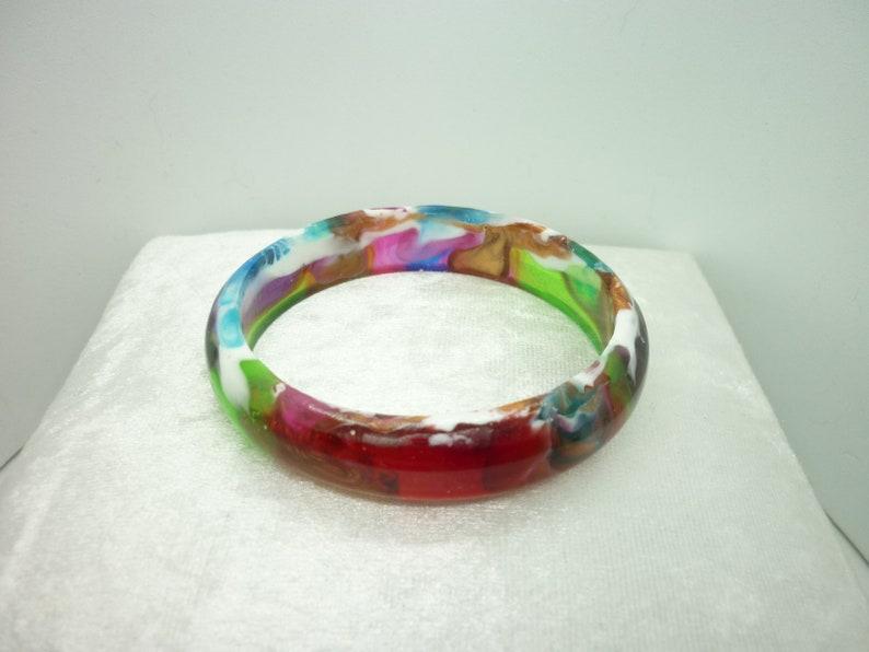 handmade resin bangle unique gift Dragon Nebula Bangle birthday gift colourful bangle multi colour bracelet gift for her
