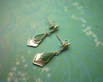 Vintage Sterling Silver Earrings - Malachite