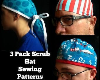 Scrub Hat Sewing Pattern DIY Men's, unisex, and ponytail surgical scrub hat 3 Sewing tutorial Instructions pack Instant Download pdf #dbapp3