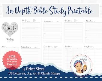 Prayer Journal Printable Bible Study Pages Sermon Notes Memory Verse In Depth Bible  Devotional Journaling PDF File
