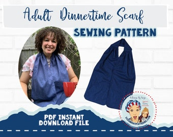 Adult Bib Dinner Scarf Sewing Pattern Pdf Download For Dining