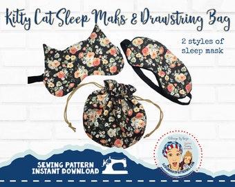 Kitty Cat Sleep Mask PDF Sewing Pattern With Drawstring Bag Eye Mask Holder Tutorial Makes Two Sleep Masks and Bag Easy Beginner Sewing