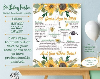 63 Years Ago in 1958 Birthday Poster Born in 1958 Year You Were Born Floral Feminine Sunflowers 63 Years Ago Download