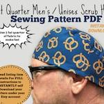 Fat Quarter Surgical Scrub Hat Sewing Pattern PDF Download Men's Unisex Tieback Scrub Cap