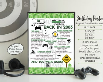 Gamer 18th Birthday Poster Born in 2003 Year You Were Born Video Game Birthday Sign Printable Download