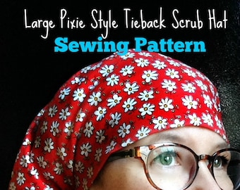 Scrub Hat Sewing Pattern Tutorial NEW DIY Pixie Style Tieback Surgical Scrub Cap Downloadable Sewing Instructions PDF #dbap009
