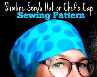 Scrub Hat Sewing Pattern DIY Slimline Scrub Hat Chef's Cap pdf SewingTutorial, Instant DOWNLOAD ONLY full coverage #dbap005