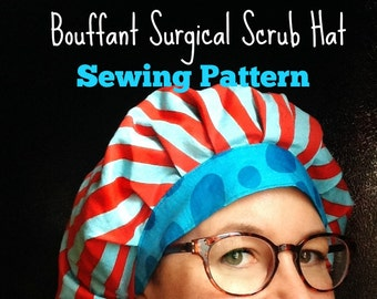 Scrub Hat Sewing Pattern DIY  Bouffant Surgical Scrub Hat Cap Instructions Tutorial To Make Your Own Instant DOWNLOAD ONLY pdf #dbap001
