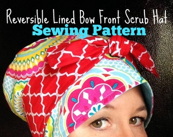 Scrub Hat Sewing Pattern DIY Reversible Lined Surgical Scrub Cap Downloadable Sewing Instructions pdf for a Bow Front Scrub Cap #dbap008