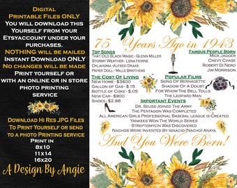 75th Birthday Poster Born in 1943 Year You Were Born Floral Feminine Sunflowers 75 Years Ago Download Only Printable