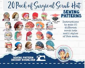 Surgical Cap Sewing Pattern PDF 20 Pack Downloadable Sewing Instructions Tutorial Bouffant Men's Tieback Pixie Ponytail Pony Cap Face masks