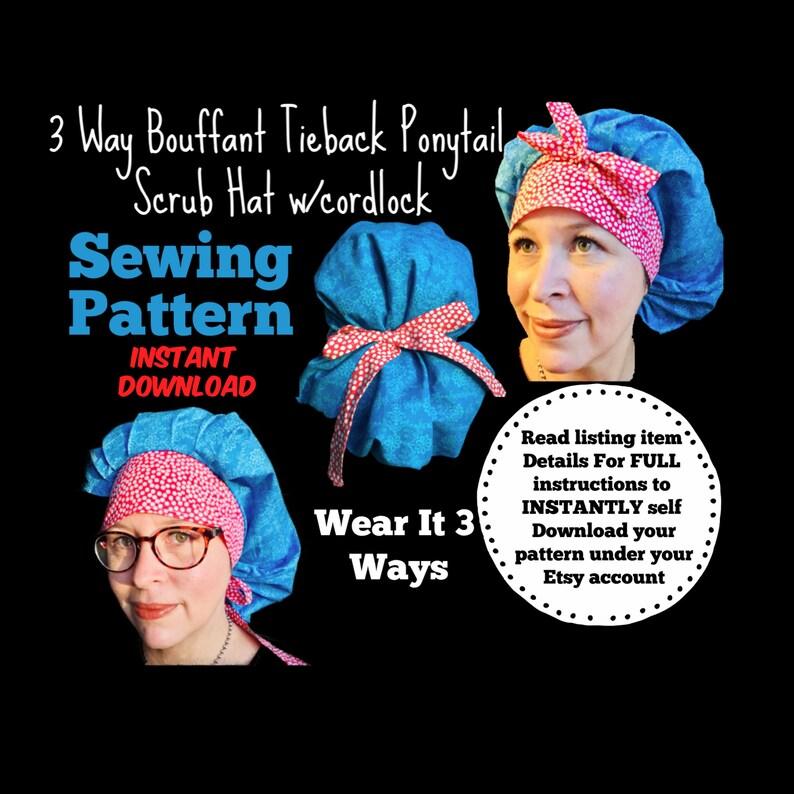 3 Way Bouffant Tieback Ponytail Surgical Scrub Hat Sewing image 0