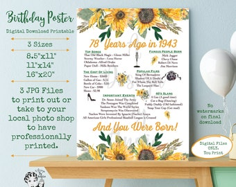 78 Years Ago in 1943 Birthday Poster Born in 1943 Year You Were Born Floral Feminine Sunflowers 78 Years Ago Download
