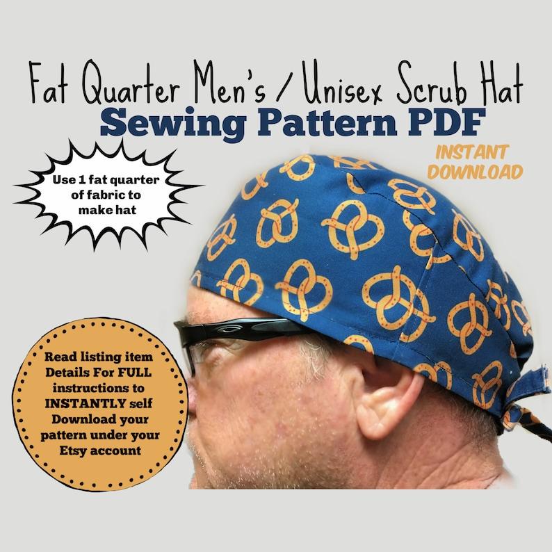 Fat Quarter Surgical Scrub Hat Sewing Pattern PDF Download image 0