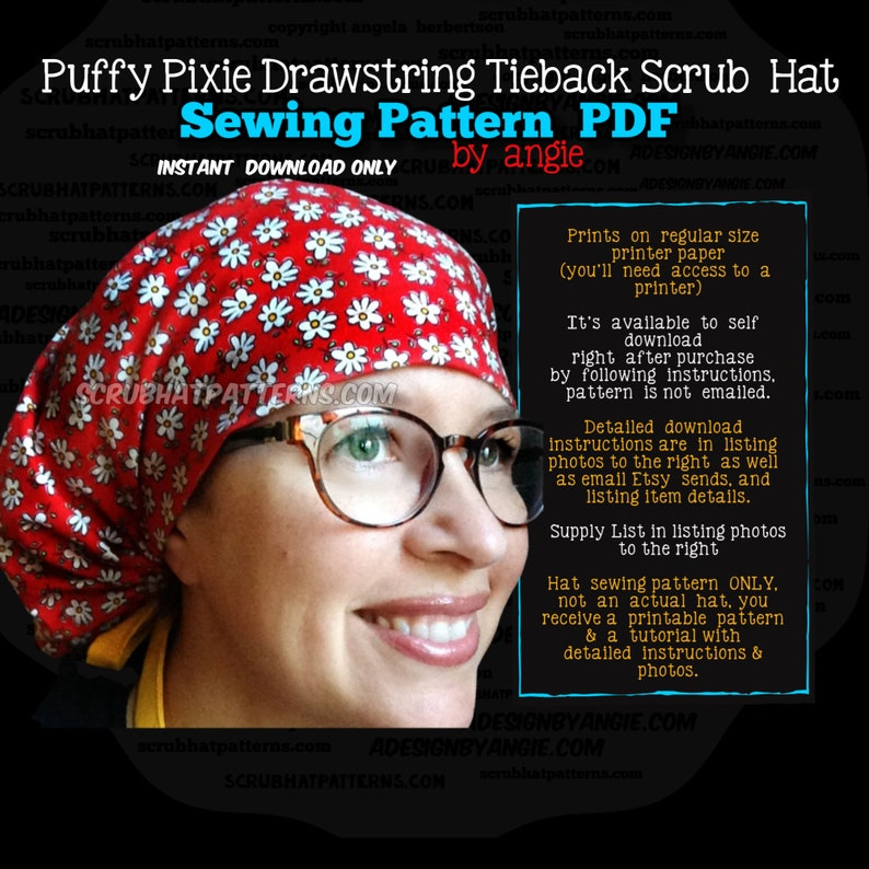 Scrub Hat Sewing Pattern Tutorial NEW DIY Puffy Pixie Style image 0