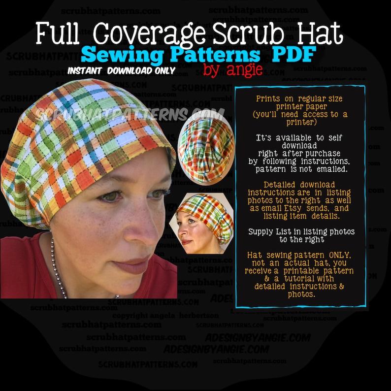 Scrub Hat Sewing Pattern DIY Scrub Hat Chef's Cap pdf image 0