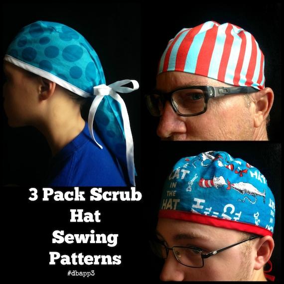 Scrub Hat Sewing Pattern DIY Men's Unisex And Ponytail Etsy Beauteous Scrub Patterns
