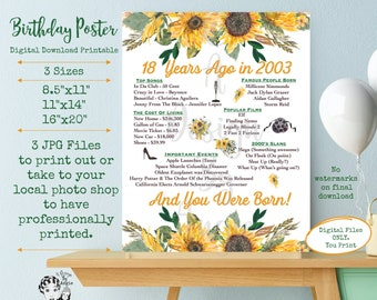 18th Birthday Poster Sunflower Born in 2003 Year You Were Born Video Game Birthday Sign Printable Download