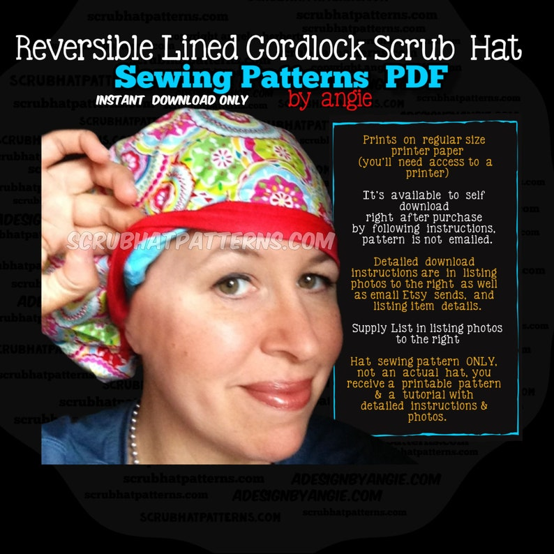 Scrub Hat Sewing Pattern Tutorial Reversible Fully Lined image 0