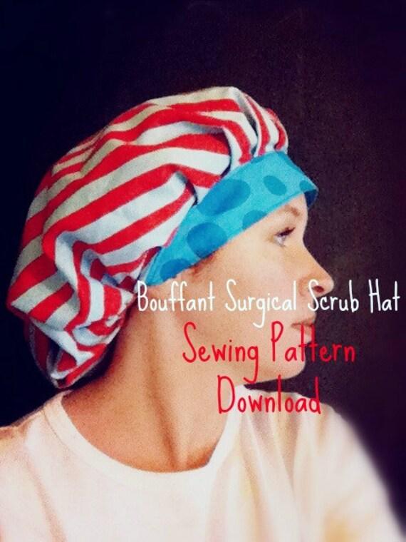 Scrub Hat Sewing Pattern DIY Bouffant Surgical Scrub Hat Cap   Etsy