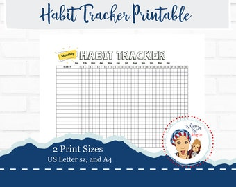 Monthly Habit Tracker Printable Coloring PDF File Goal Tracking Planner Sheet Download