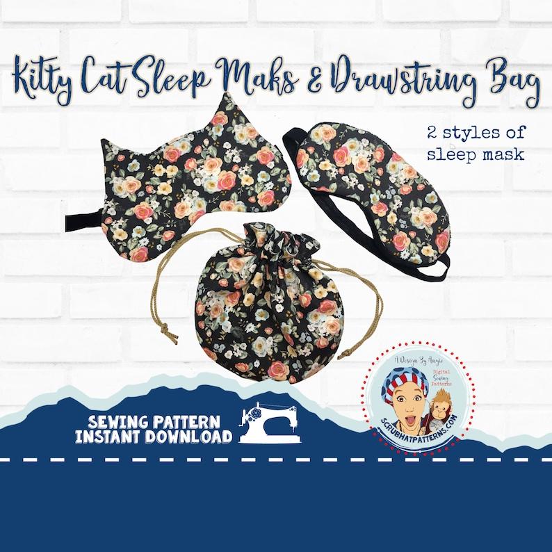 Kitty Cat Sleep Mask PDF Sewing Pattern With Drawstring Bag image 0