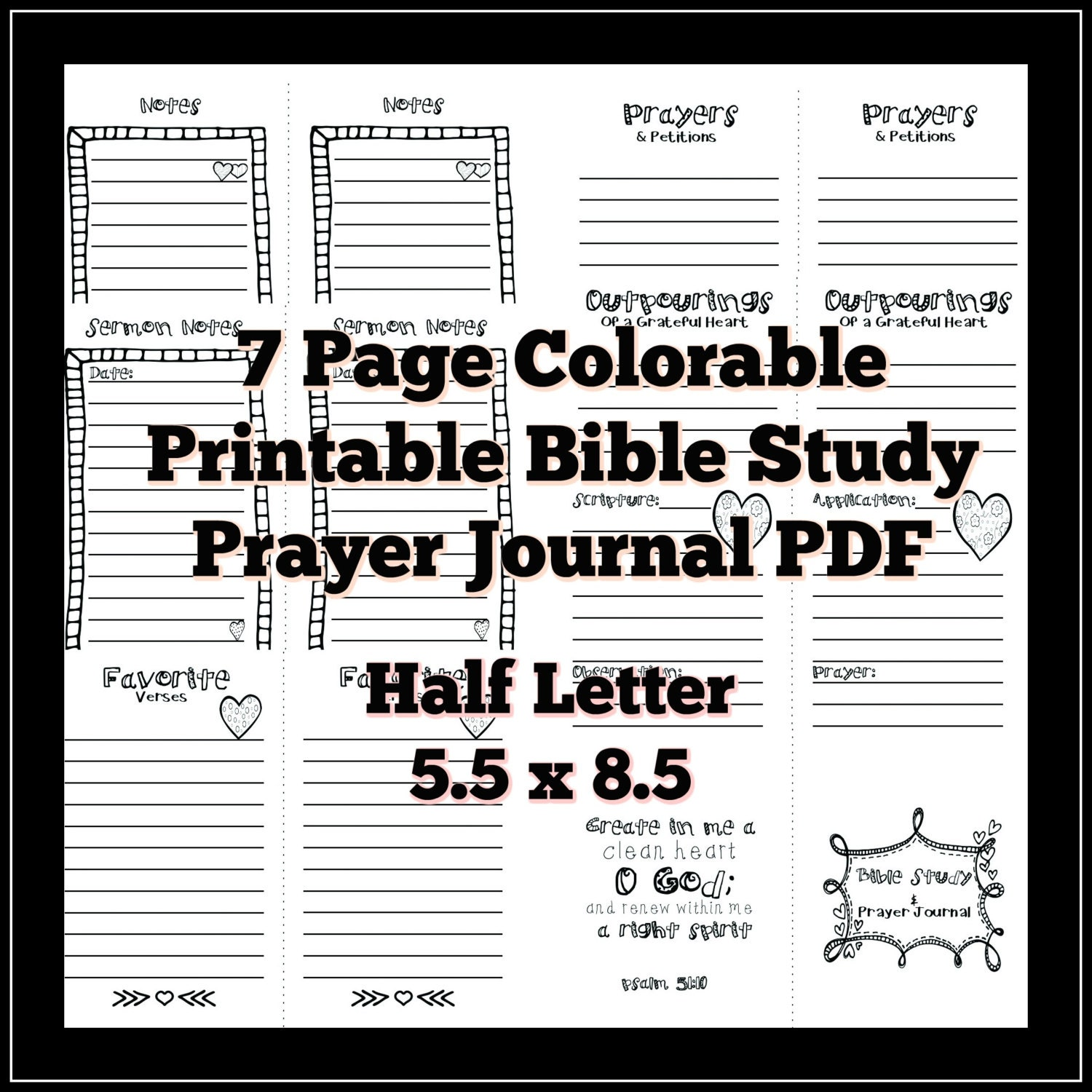 Half Letter 5 5x8 5 Bible Study Prayer Journal Colorable Printable Pdf  Planner Refills S O A P  Method
