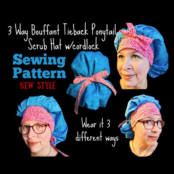 3 Way Bouffant Tieback Ponytail Surgical Scrub Hat Sewing  477dd7d0e70