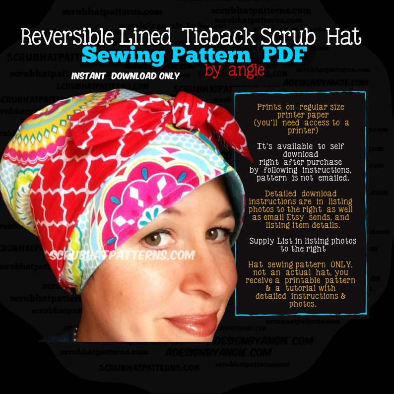 Scrub Hat Sewing Pattern DIY Reversible Lined Surgical Scrub image 0