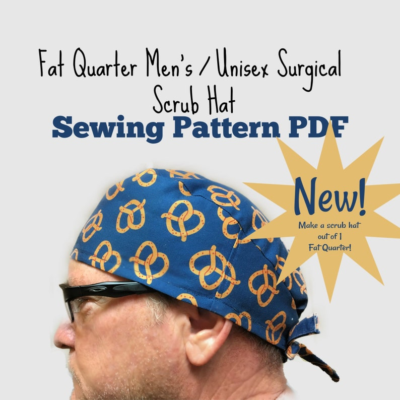 image regarding Free Printable Scrub Hat Patterns referred to as Excess weight Quarter Surgical Scrub Hat Sewing Habit PDF Obtain Mens Uni Tieback Scrub Cap