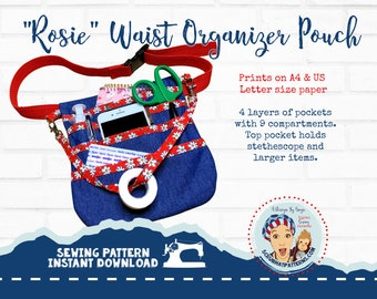 Nurse Fanny Pack Pattern Sewing Tutorial PDF Waist Pouch For Medical and Vet Tech The Rosie Easy Craft Project