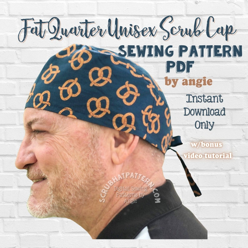Fat Quarter Surgical Scrub Hat Sewing Pattern PDF Download image 0