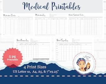 Medical Planner Printables Blood Sugar Blood Pressure Medication Tracker Vitamin Supplement Log PDF File For Planner