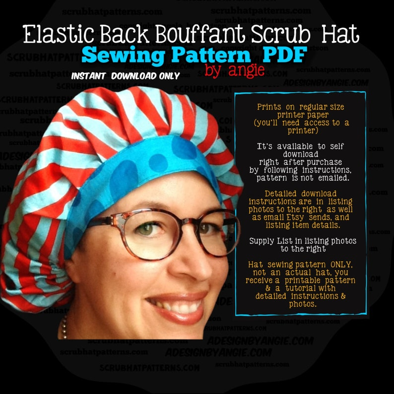 Scrub Hat Sewing Pattern DIY  Bouffant Surgical Scrub Hat Cap image 0
