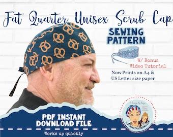 Scrub Cap Sewing Pattern Fat Quarter Surgical Scrub Hat Sewing Printable Pattern PDF Download for Men's Unisex Tieback Scrub Cap with Video