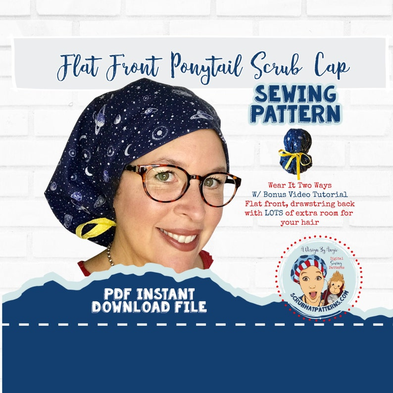 Ponytail Scrub Hat Sewing Pattern Flat Front with Video pdf image 0