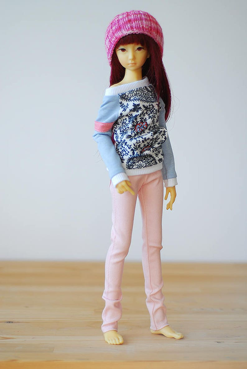 Flower print relaxed fit top with contrast sleeves slim mini MSD BJD clothes