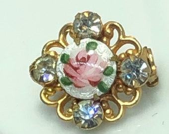 Guilloche Rose Rhinestone Brooch Filagree Heart Gift Boxed