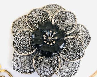 Vintage LARGE Black Floral Silvertoned  Filagree Brooch|Gift Boxed