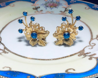 Vintage Sapphire Blue Rhinestone Floral Clip Earrings|Gift Boxed