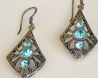 Blue Topaz Rhinestones Marcasite Sterling Silver Earrings Gift Boxed