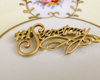 Vintage #1 Secretary Brooch Pin Gold brushed||Gift Boxed