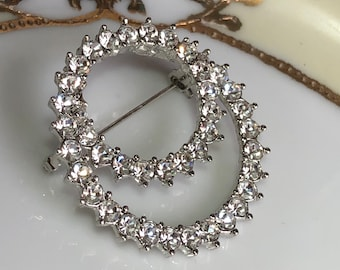 Gorgeous Sparkling Double Circular Rhinestone Brooch Pin|Gift boxed