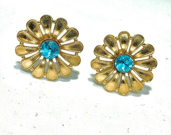 Vintage Blue Topaz Rhinestone Daisy Flower Screw back Clip Earrings|Gift Boxed